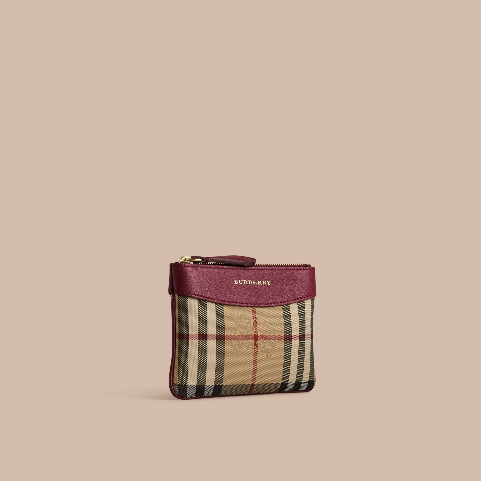 Dark plum Horseferry Check and Leather Pouch Dark Plum - gallery image 1