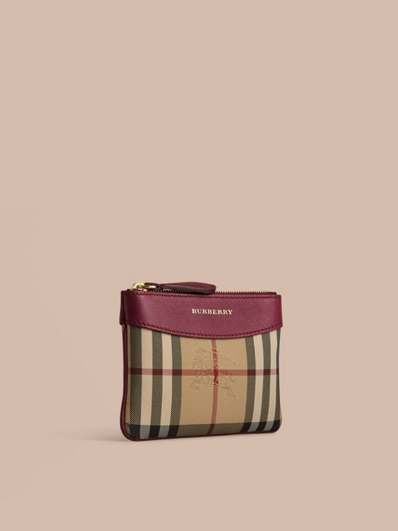 Horseferry Check and Leather Pouch Dark Plum