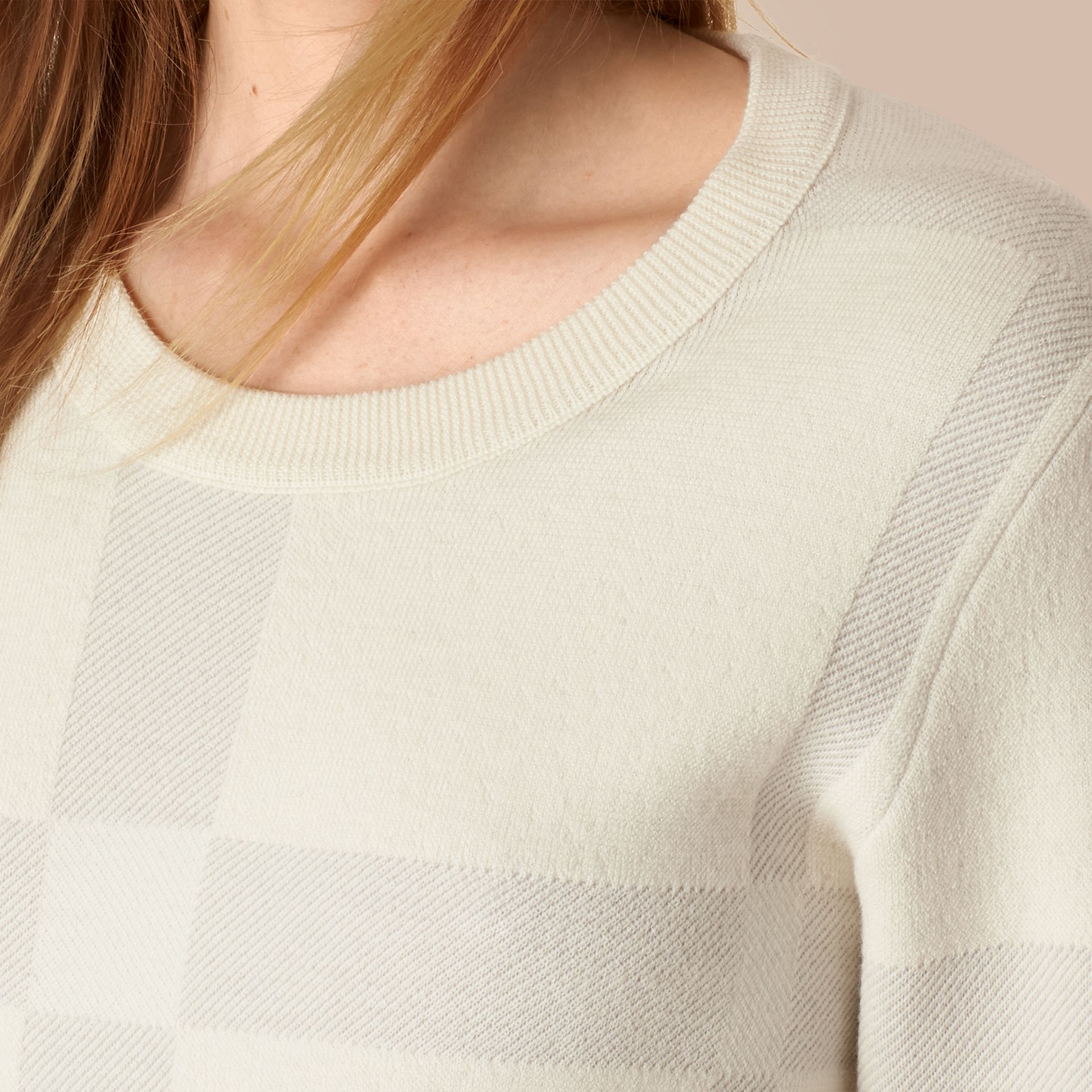 Natural white Check Knit Wool Blend Sweater Natural White - gallery image 2
