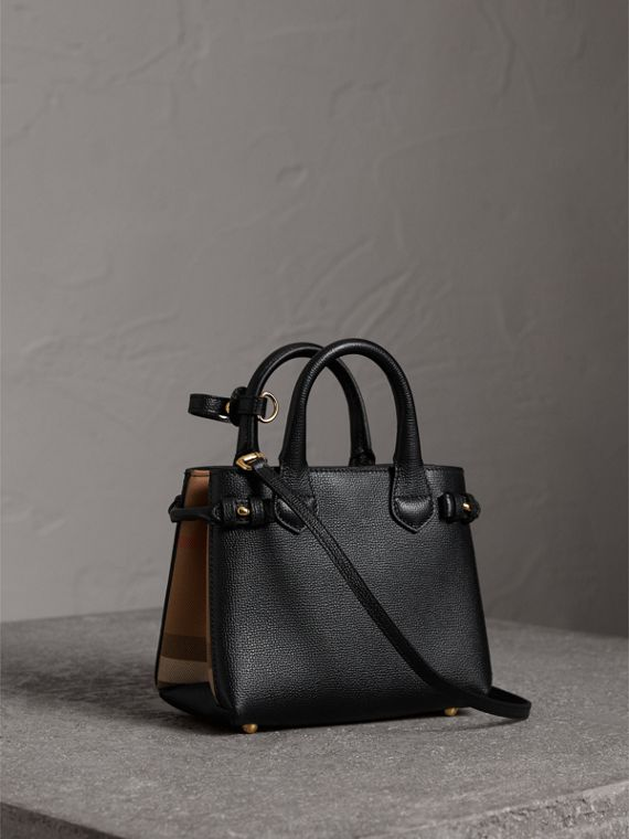 The Baby Banner in Leather and House Check in Black - Women | Burberry Canada - cell image 3
