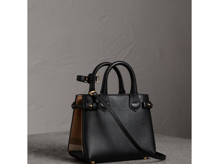 Borsa The Baby Banner in pelle con motivo House check (Nero) - Donna | Burberry - cell image 4