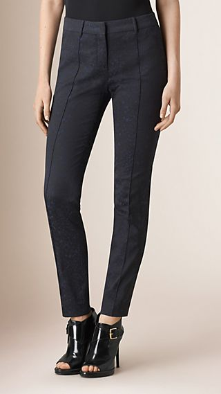 Skinny Fit Jacquard Cotton Blend Trousers