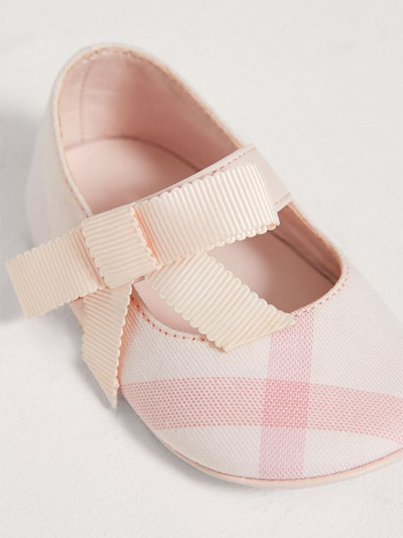 Bow Detail Check Cotton and Leather Ballerinas in Ice Pink | Burberry - cell image 3