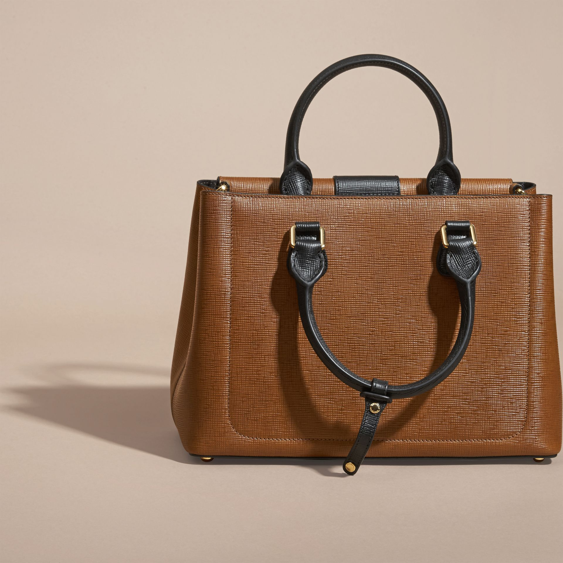 Tan The Medium Saddle Bag in Textured Bonded Leather - gallery image 5