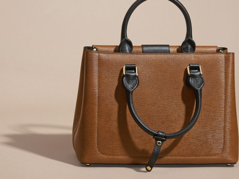 Tan The Medium Saddle Bag in Textured Bonded Leather - cell image 4