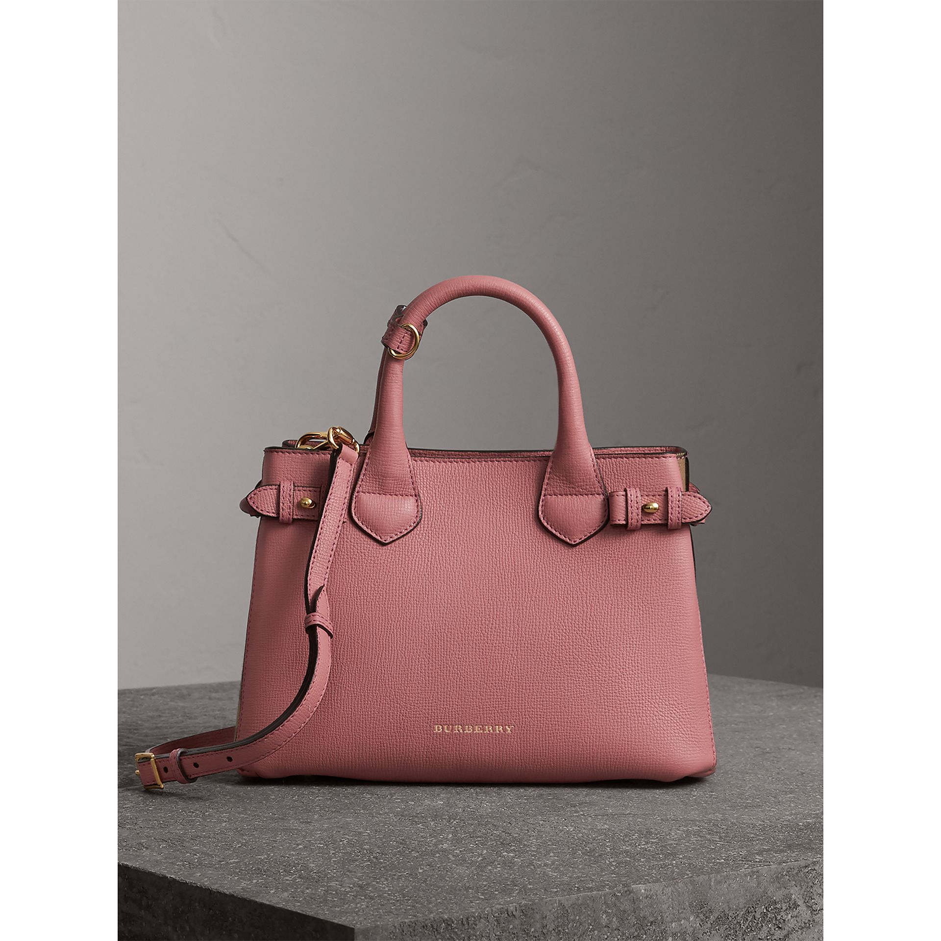 The Small Banner in Leather and House Check in Mauve Pink - Women | Burberry - gallery image 8