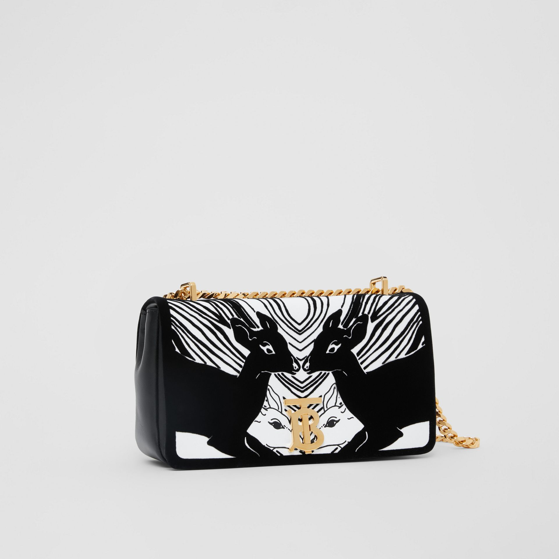 Small Deer Flock Leather Lola Bag in Black/white - Women | Burberry - gallery image 6
