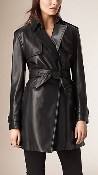 Oversize Wrap Lambskin Trench Coat