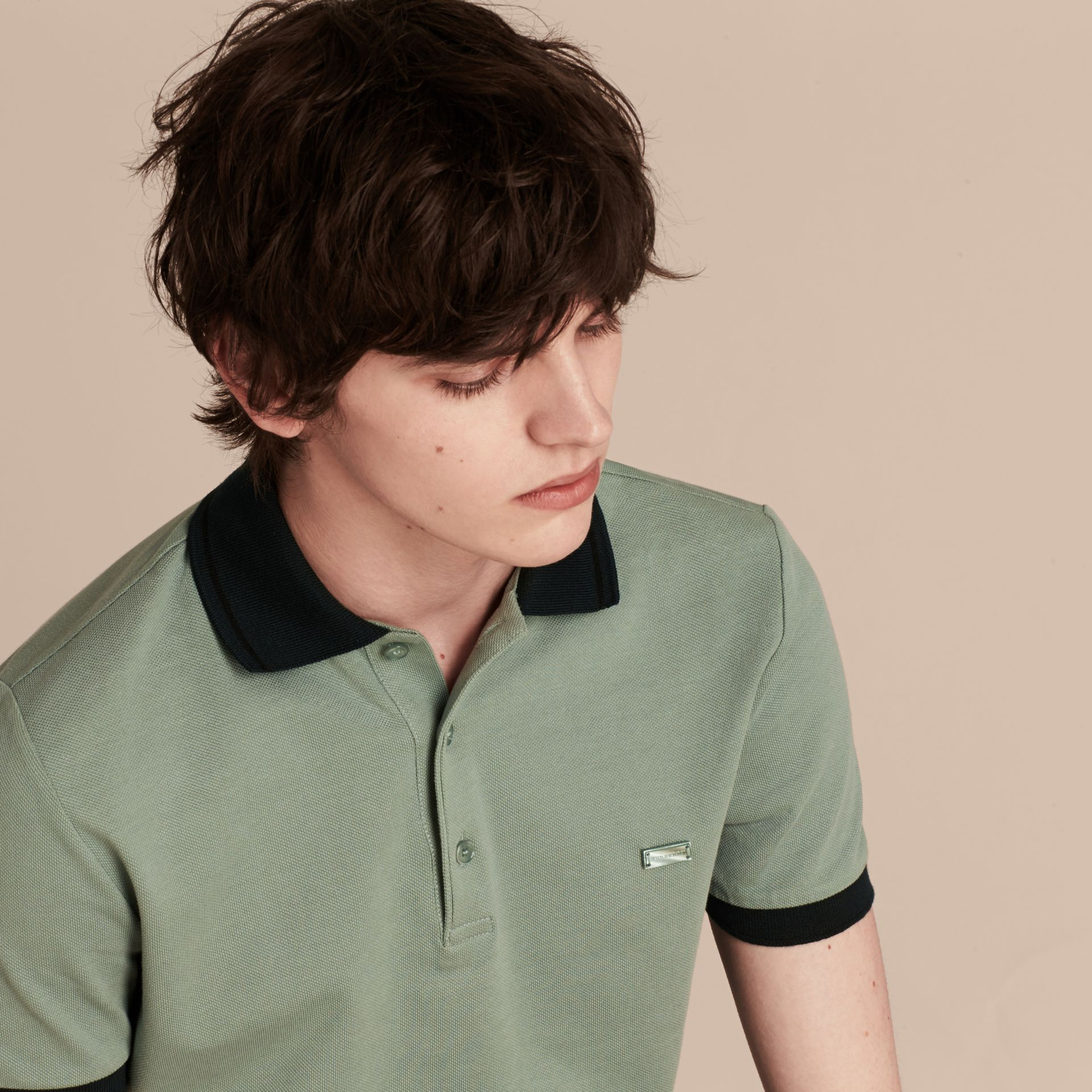 Chalk green/black Contrast Trim Cotton Piqué Polo Shirt Chalk Green/black - gallery image 5