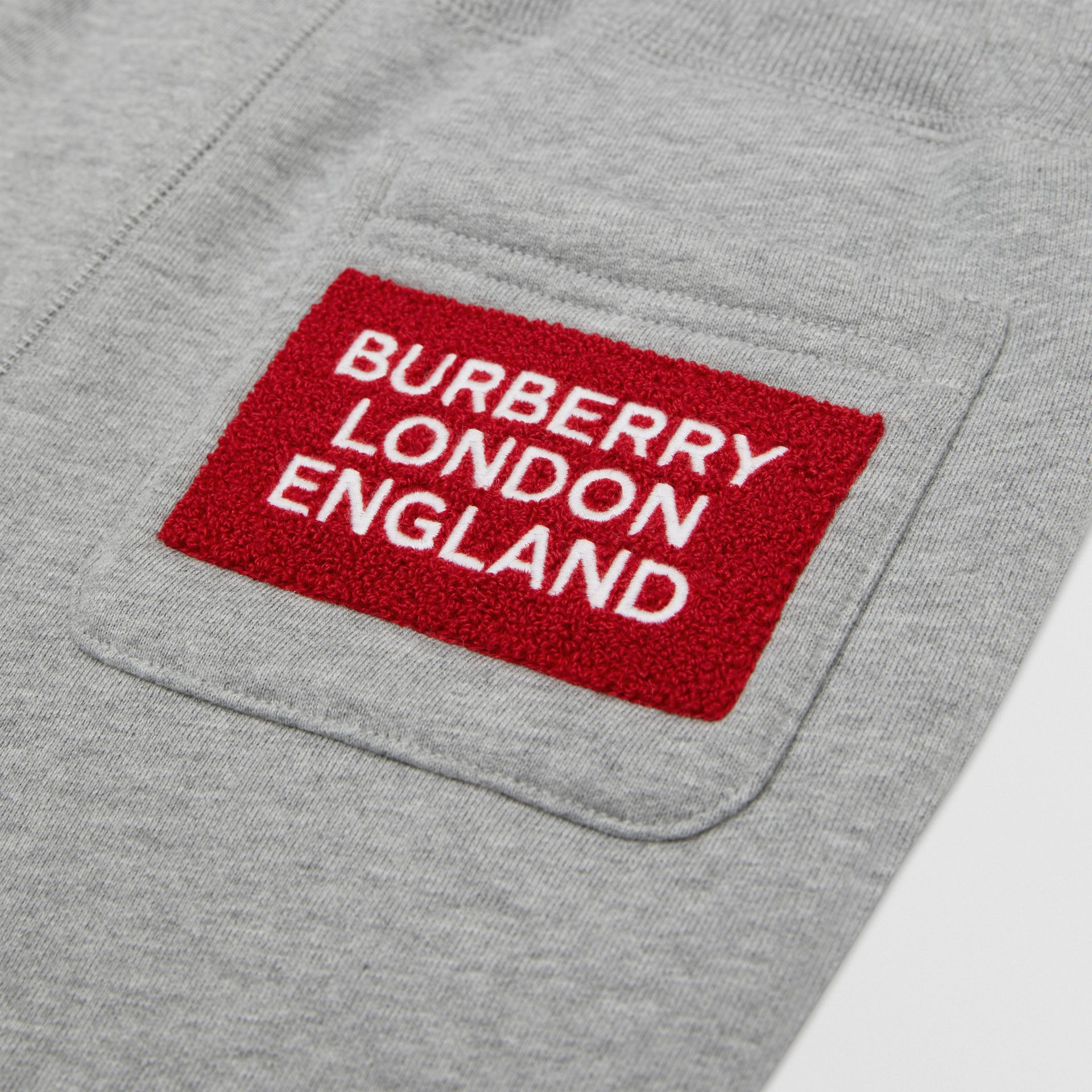 Logo Detail Cotton Trackpants in Grey Melange | Burberry - gallery image 1