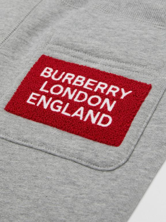 Logo Detail Cotton Trackpants in Grey Melange | Burberry - cell image 1