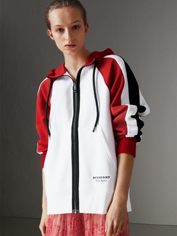 Jaqueta de malha de algodão com capuz e detalhe de listras (Branco)