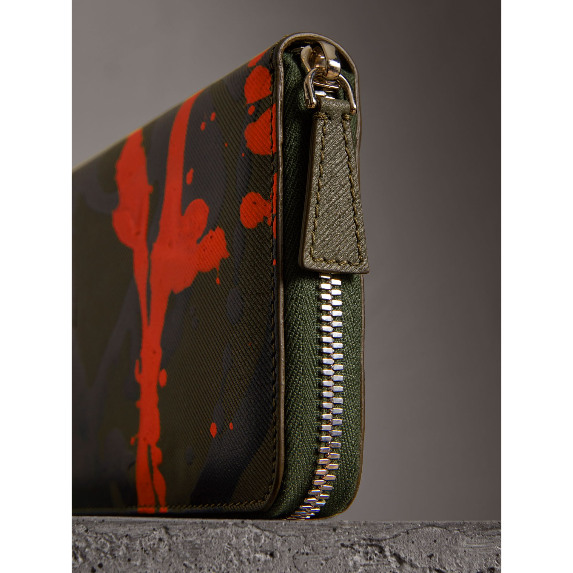 Splash Trench Leather Ziparound Wallet in Slate Green/splash - Men | Burberry United Kingdom - gallery image 1