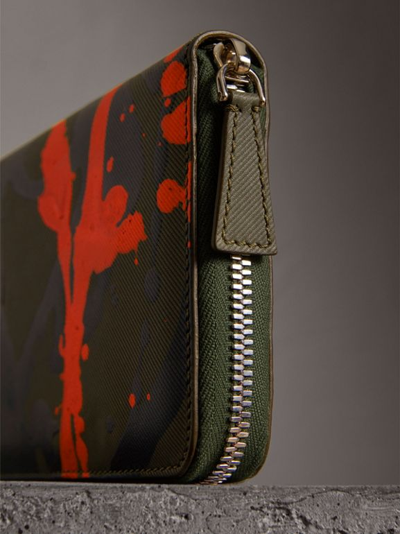 Splash Trench Leather Ziparound Wallet in Slate Green/splash - Men | Burberry - cell image 1