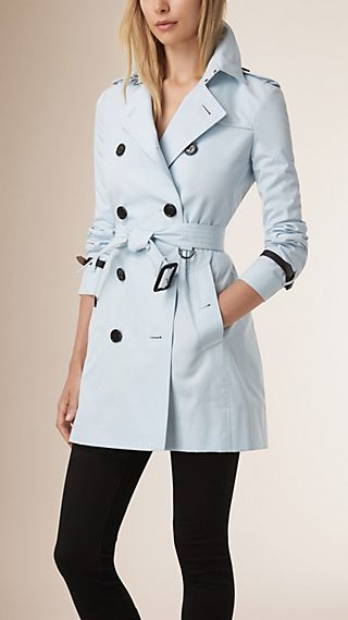 Leather Trim Cotton Gabardine Trench Coat