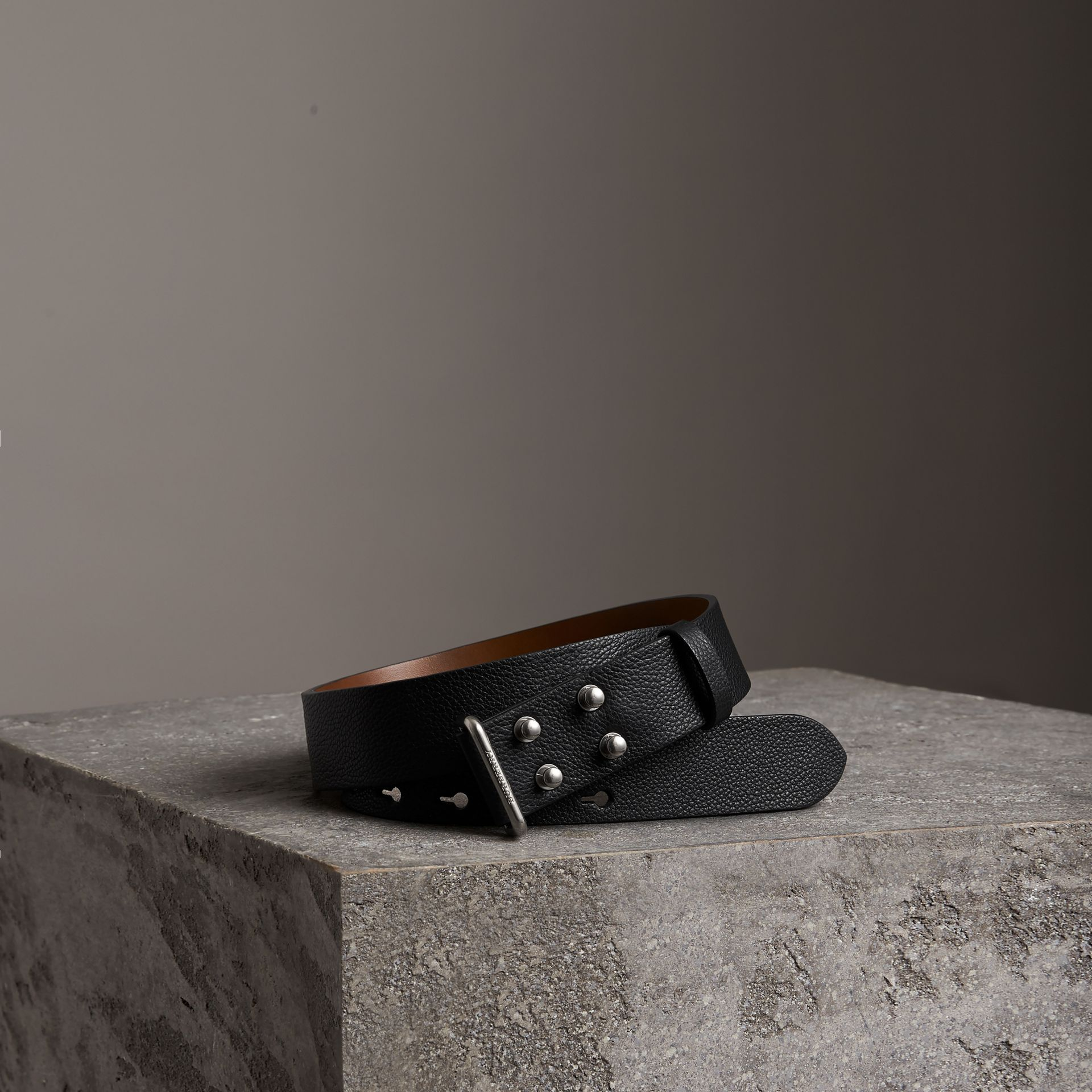 Push-Stud Grainy Leather Belt in Black - Men | Burberry Singapore - gallery image 0