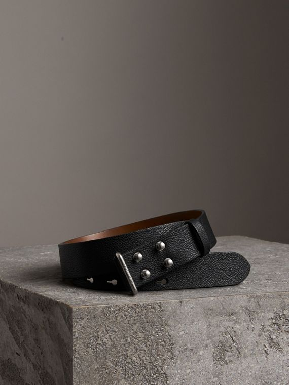 Push-Stud Grainy Leather Belt in Black
