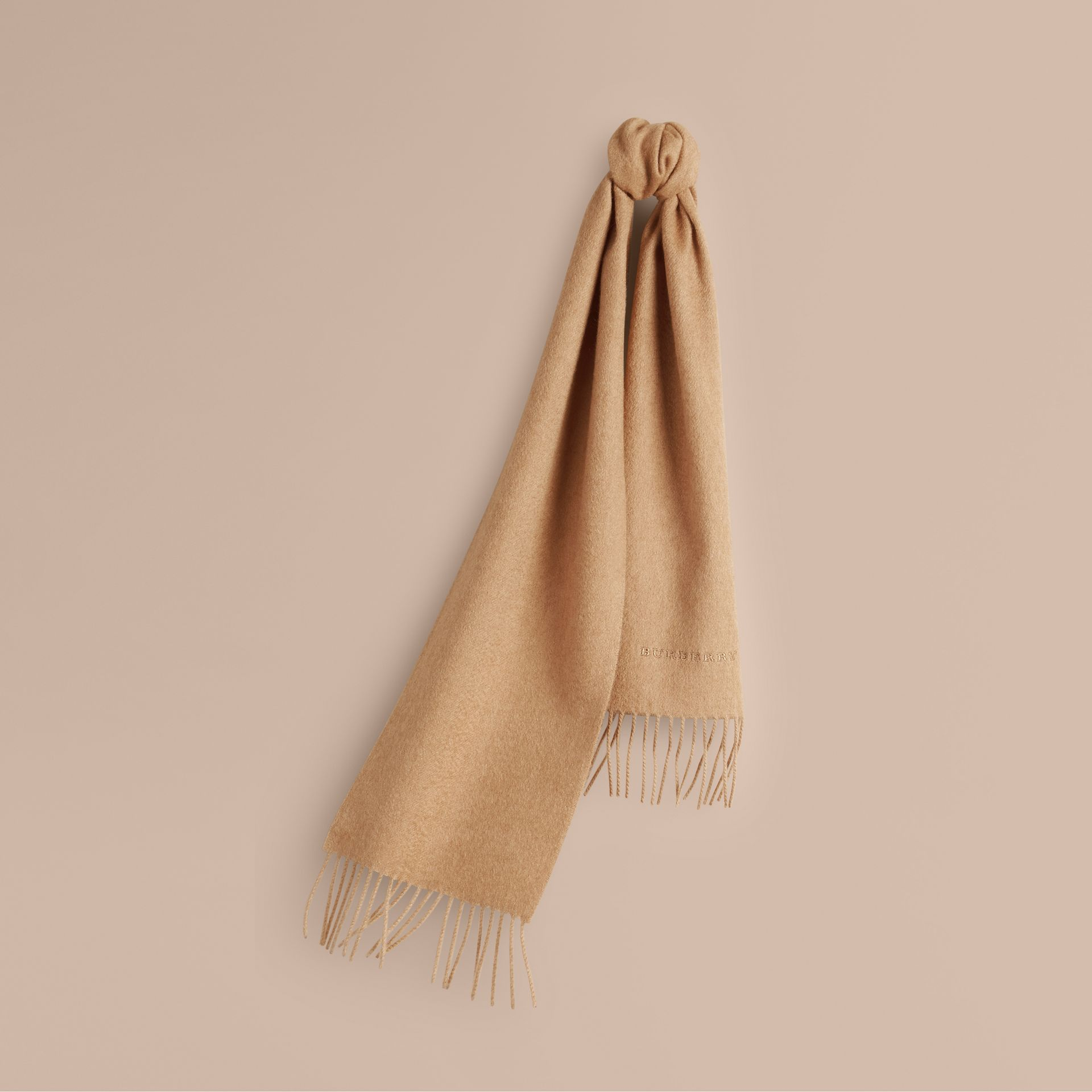 The Mini Classic Cashmere Scarf in Camel - gallery image 5