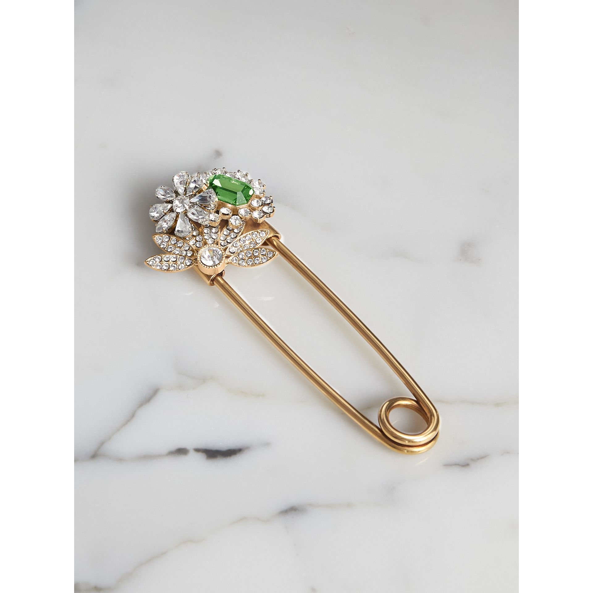 Crystal and Brass Oversized Pin in Peridot Green | Burberry Hong Kong - gallery image 0