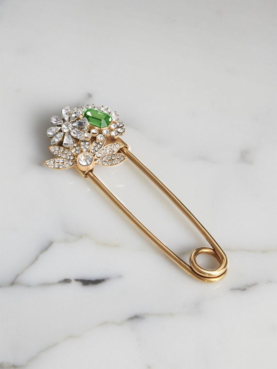 Crystal and Brass Oversized Pin in Peridot Green
