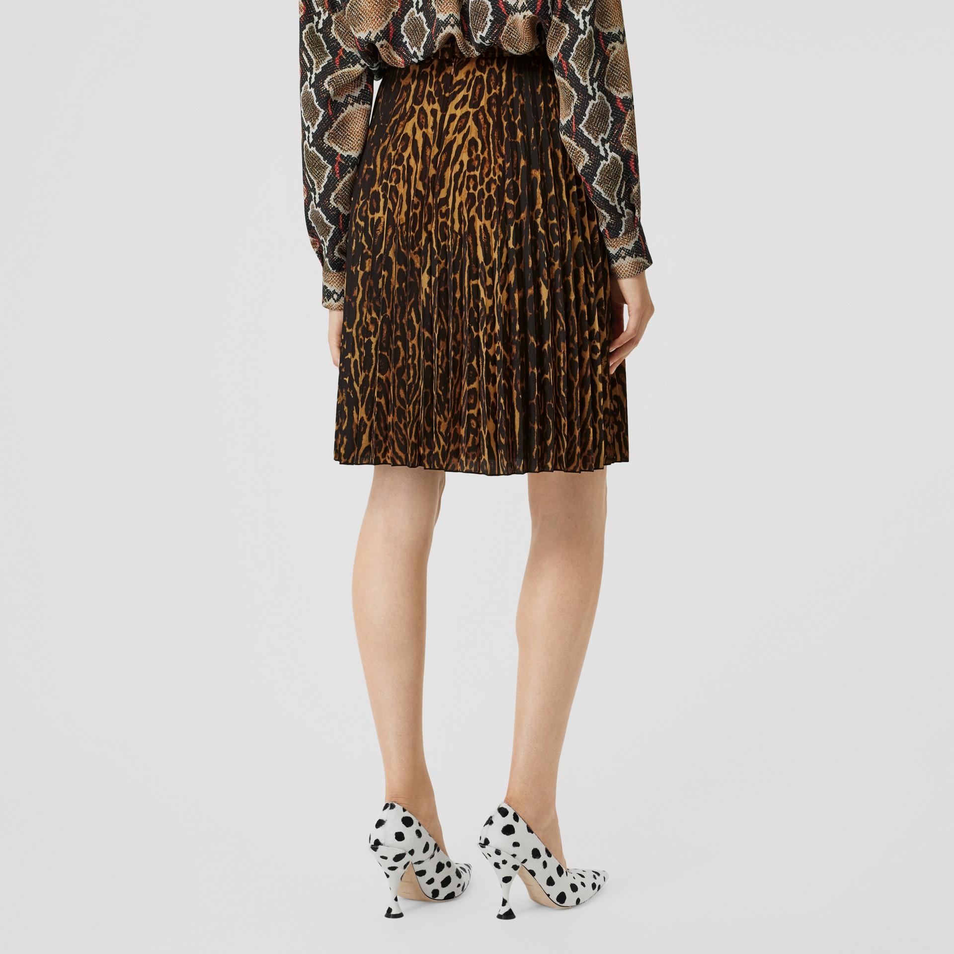 Leopard Print Pleated Skirt in Dark Mustard - Women | Burberry Hong Kong S.A.R - gallery image 2