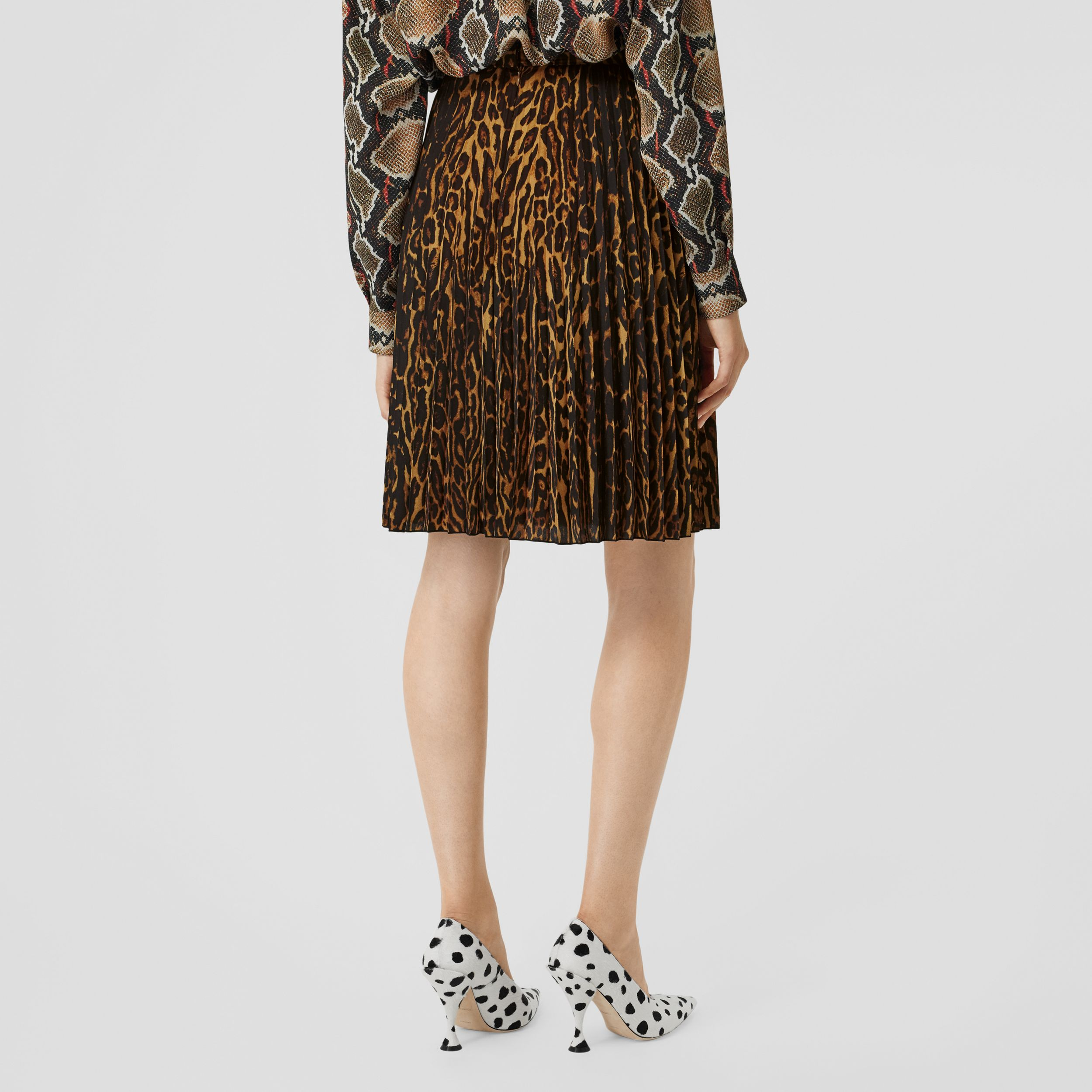 Leopard Print Pleated Skirt in Dark Mustard - Women | Burberry - 3