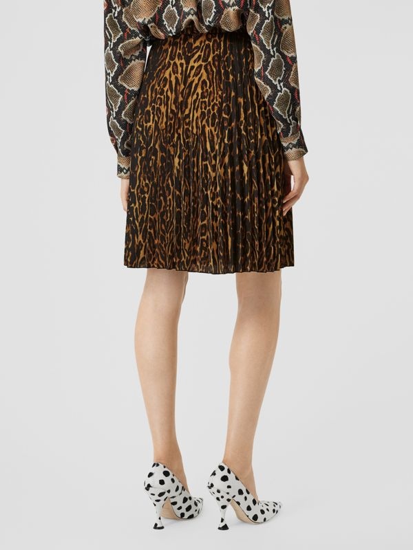 Leopard Print Pleated Skirt in Dark Mustard - Women | Burberry - cell image 2