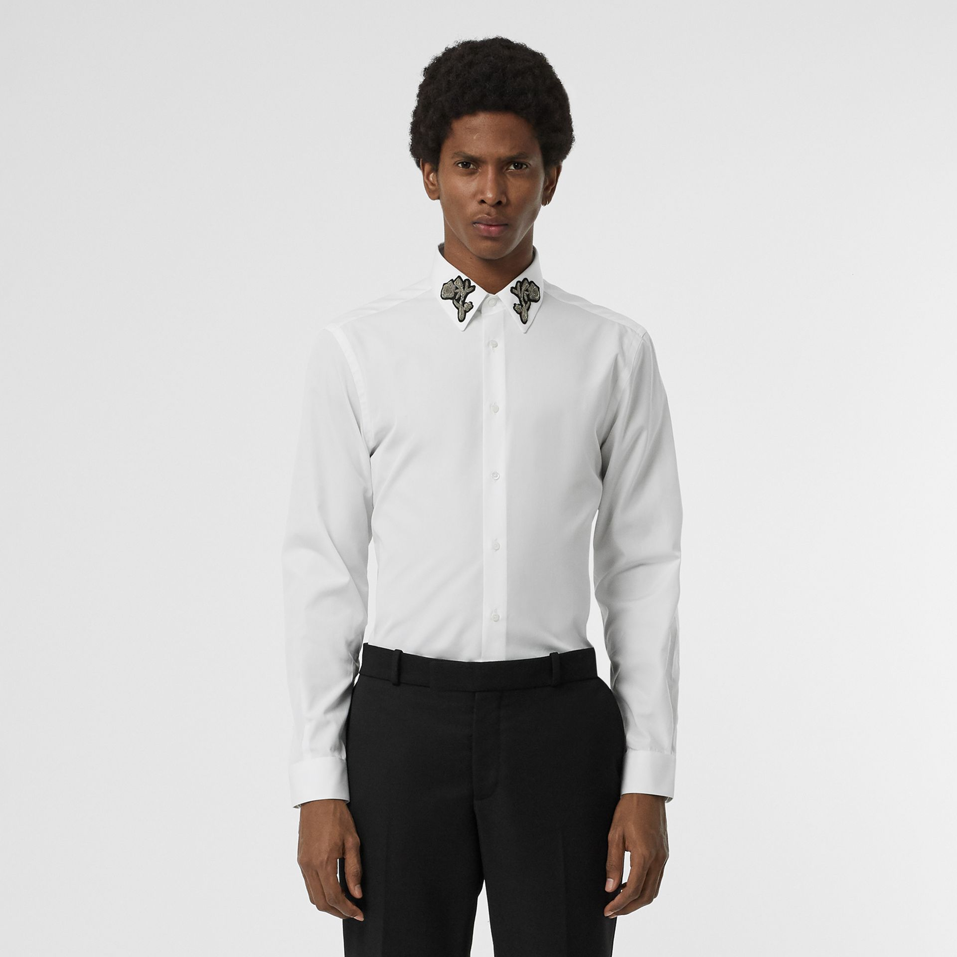 Slim Fit Bullion Floral Cotton Poplin Dress Shirt in White - Men | Burberry - gallery image 0