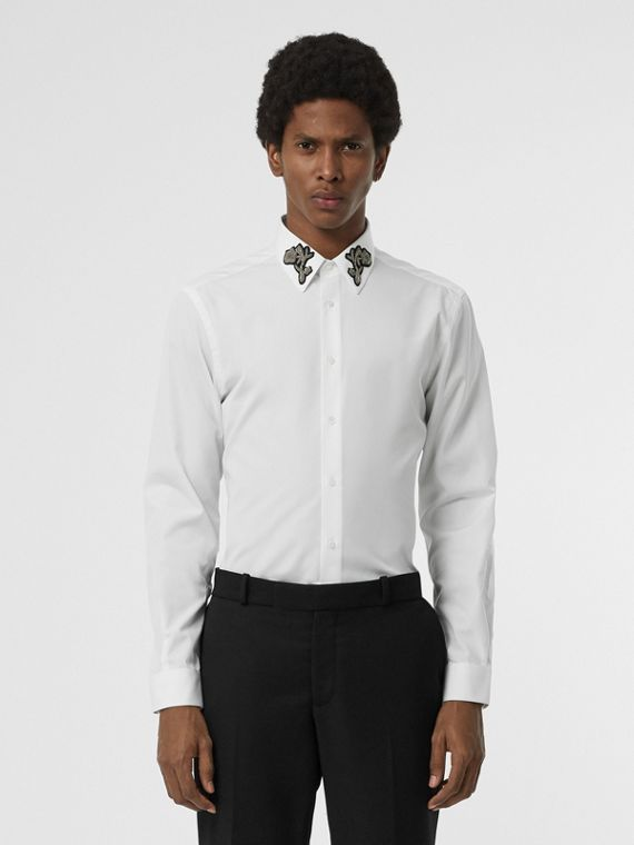Slim Fit Bullion Floral Cotton Poplin Dress Shirt in White