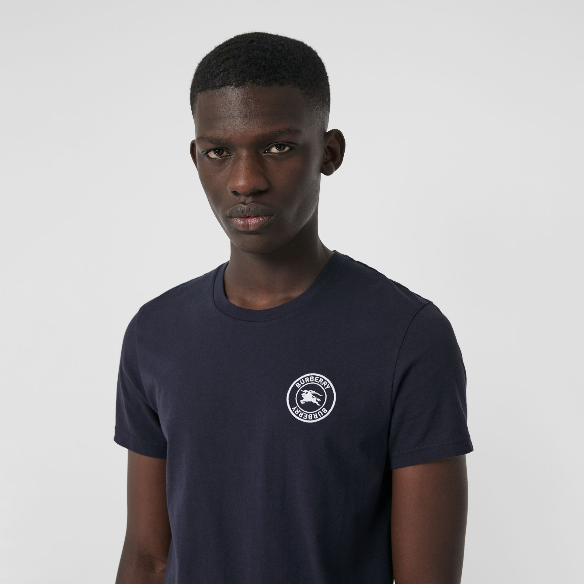 Embroidered Logo Cotton T-shirt in Navy - Men | Burberry - gallery image 1