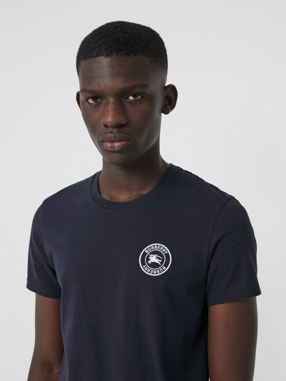Embroidered Logo Cotton T-shirt in Navy - Men | Burberry - cell image 1
