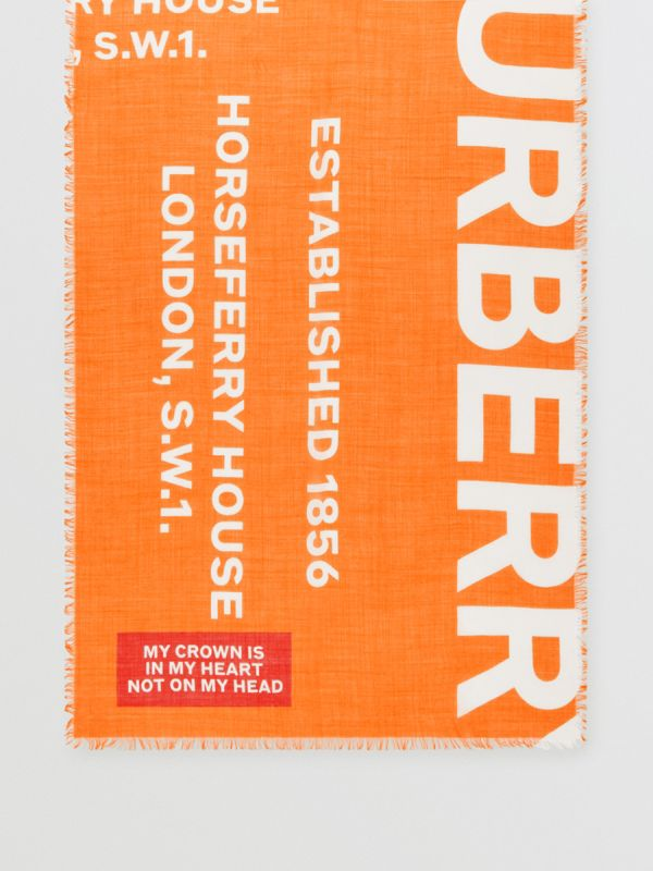 Horseferry Print Lightweight Wool Silk Scarf in Bright Orange | Burberry - cell image 3