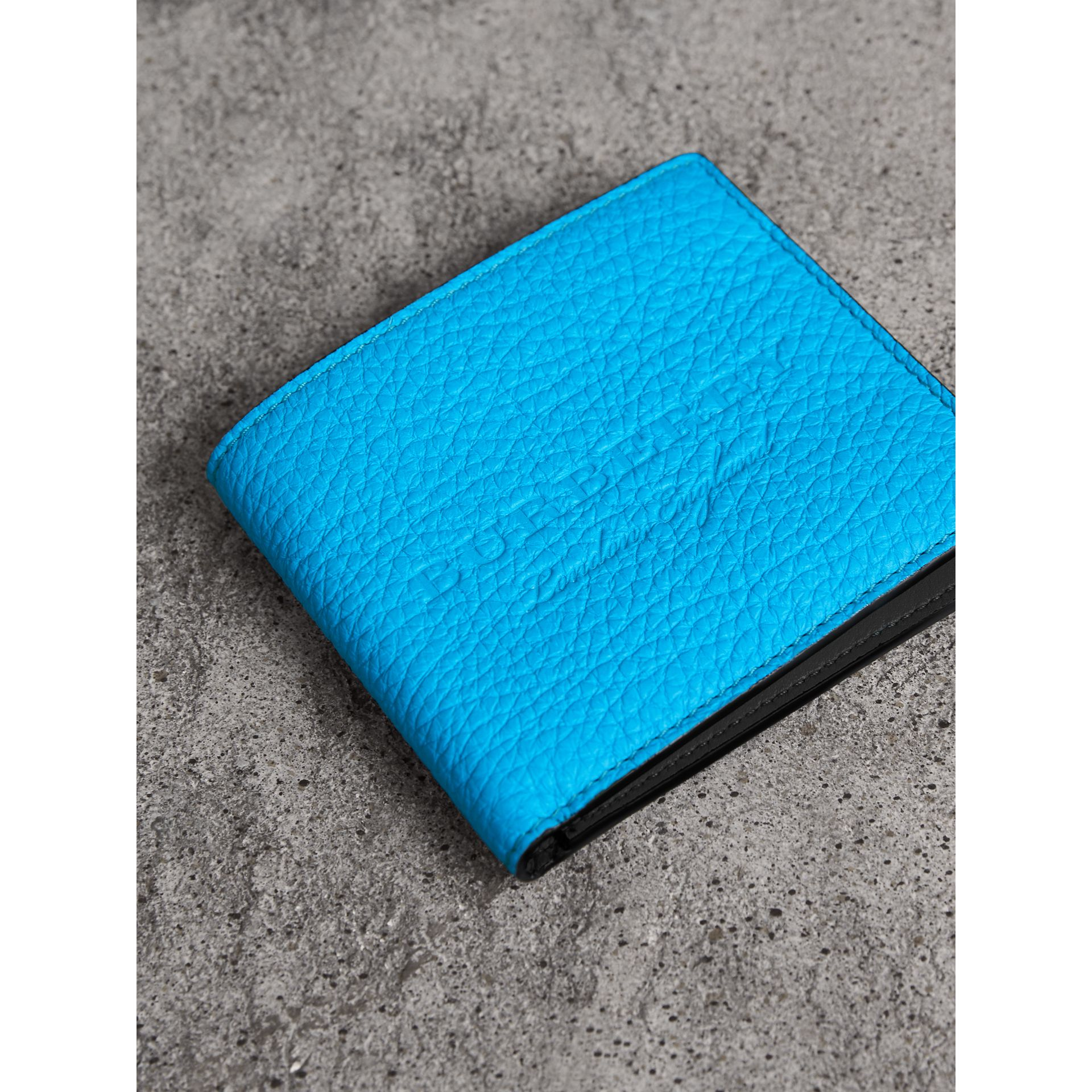 Embossed Leather International Bifold Wallet in Neon Blue - Men | Burberry - gallery image 1