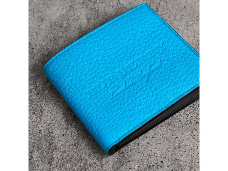 Embossed Leather International Bifold Wallet in Neon Blue - Men | Burberry - cell image 1