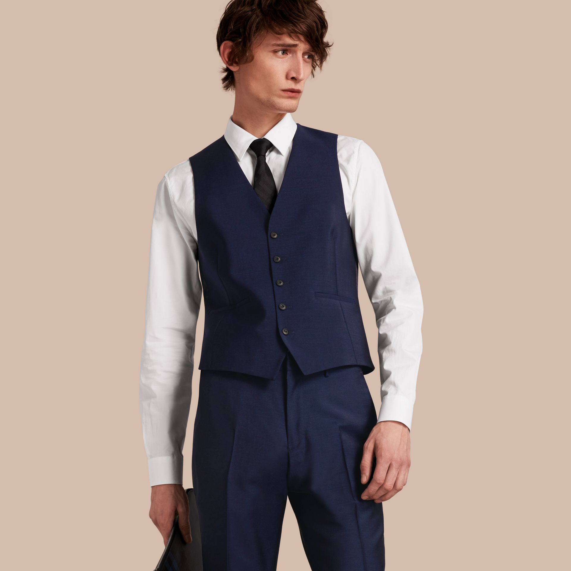 Slim Fit Wool Mohair Waistcoat in Navy - Men | Burberry United States - gallery image 0