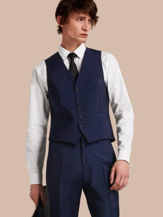 Slim Fit Wool Mohair Waistcoat in Navy