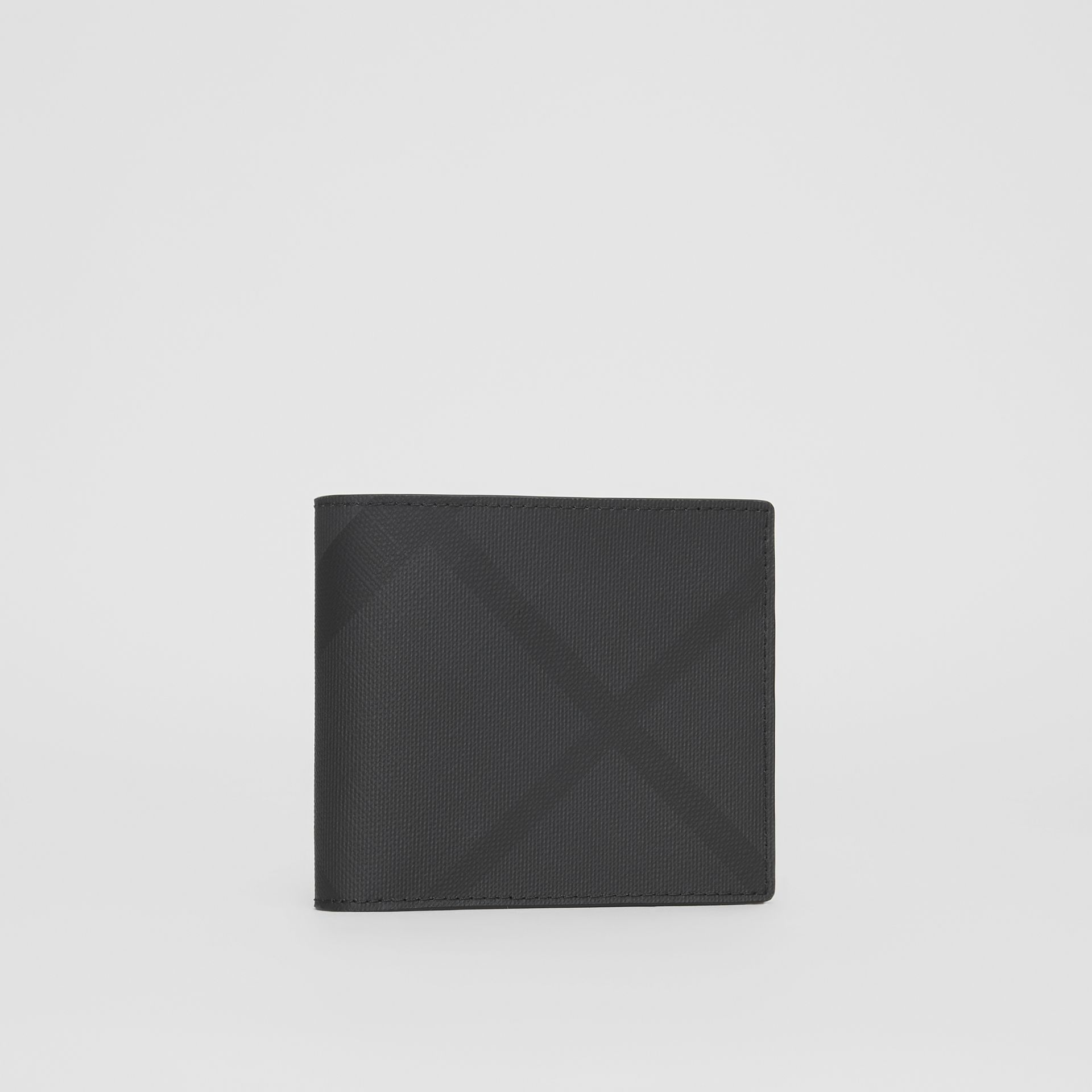 London Check and Leather International Bifold Wallet in Dark Charcoal - Men | Burberry United Kingdom - gallery image 3