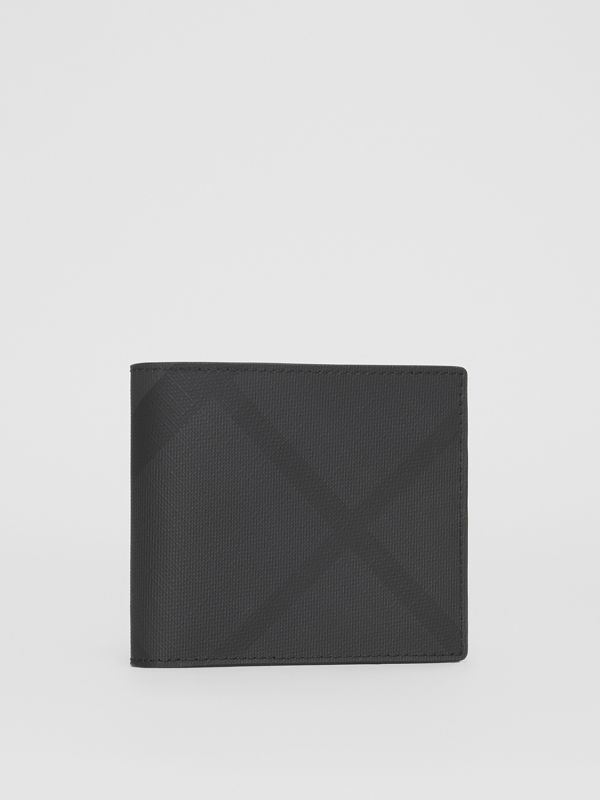 London Check and Leather International Bifold Wallet in Dark Charcoal - Men | Burberry - cell image 3