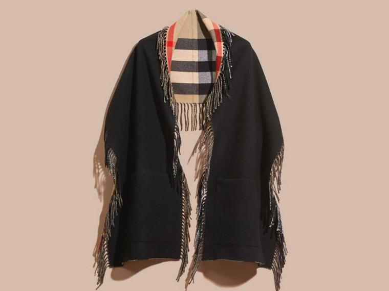 Camel/black Fringed Cashmere Merino Wool Stole Camel/black - cell image 4