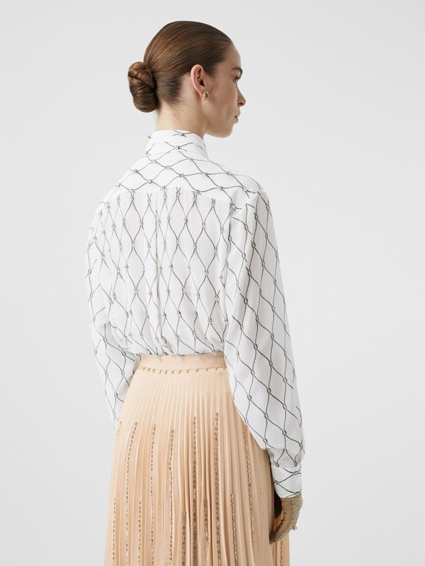 Crystal Detail Net Print Silk Oversized Tie-neck Shirt in White - Women | Burberry Canada - cell image 2