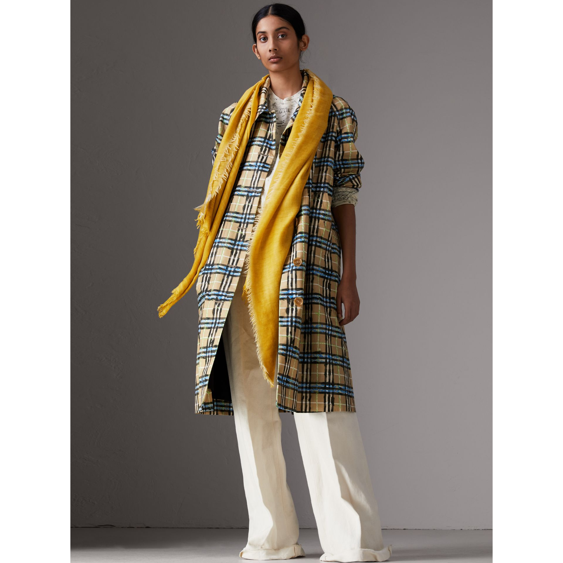 Embroidered Cashmere Cotton Scarf in Bright Yellow | Burberry - gallery image 2