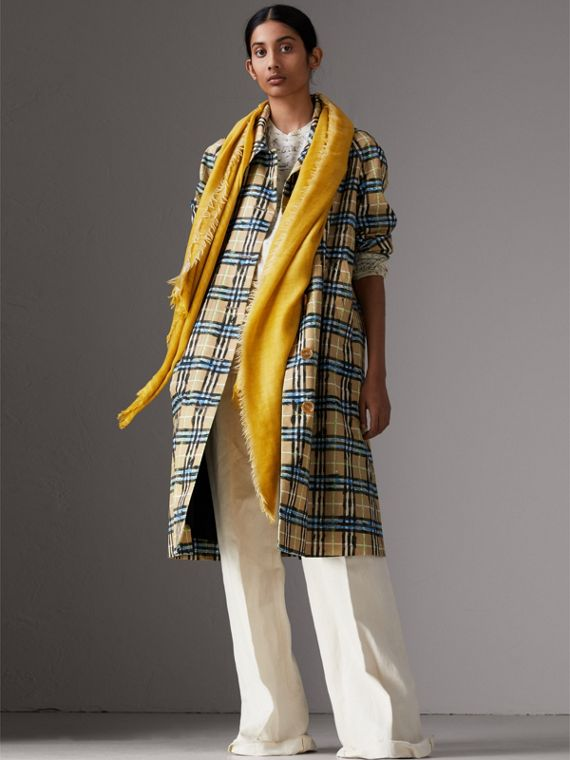 Embroidered Cashmere Cotton Scarf in Bright Yellow | Burberry Hong Kong - cell image 2
