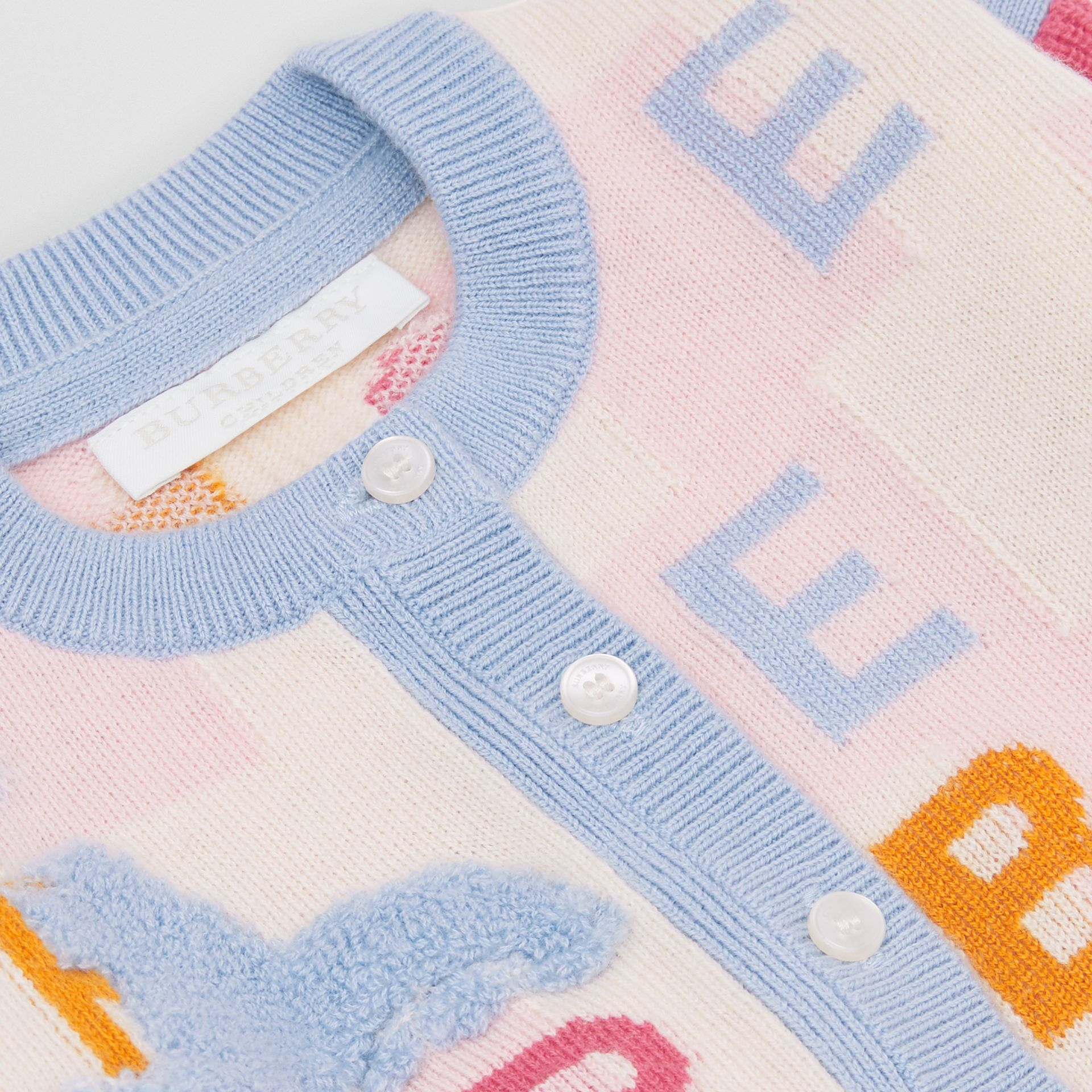 Logo Cashmere Jacquard Cardigan in Light Pink - Children | Burberry Canada - gallery image 1