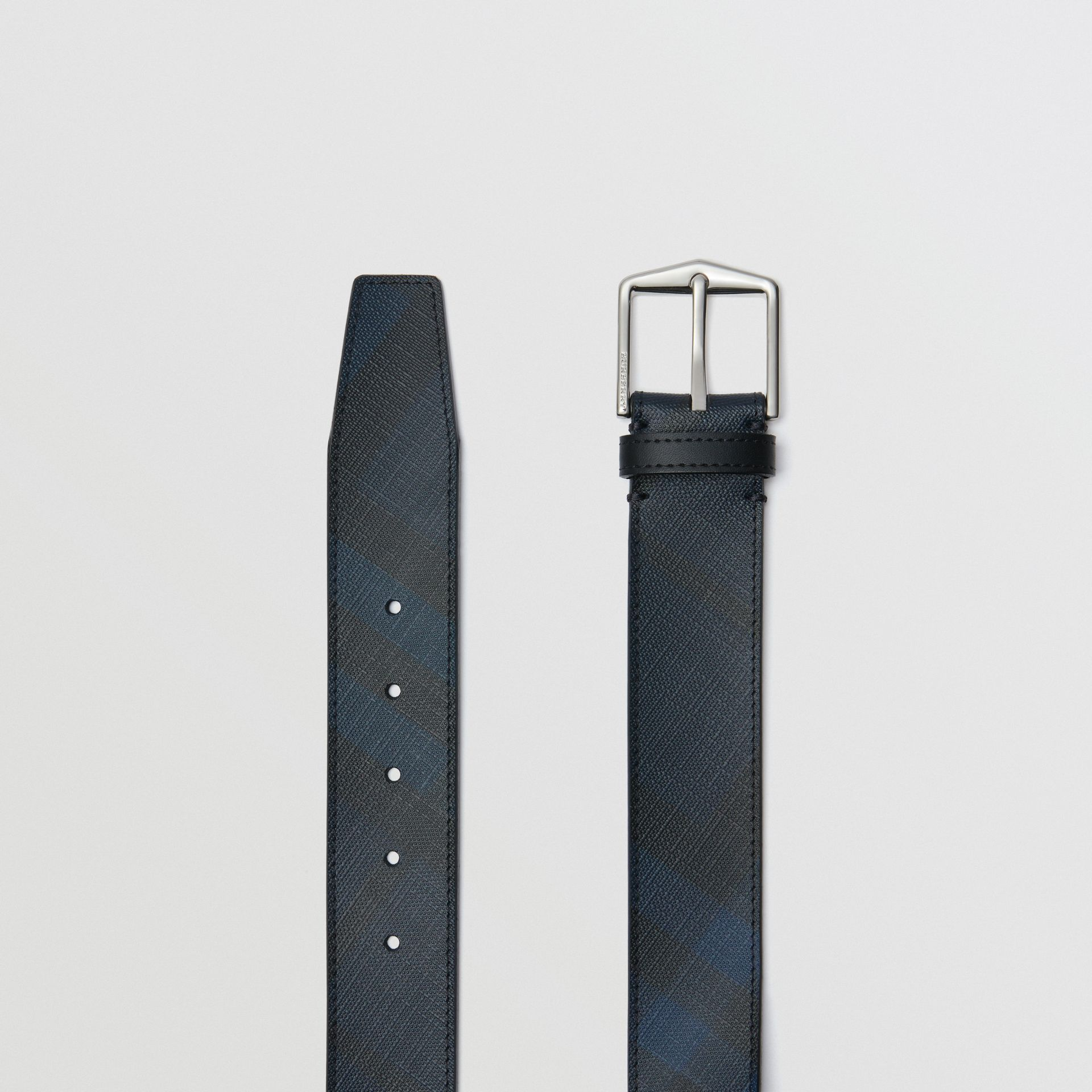 Leather Trim London Check Belt in Navy/black - Men | Burberry - gallery image 5