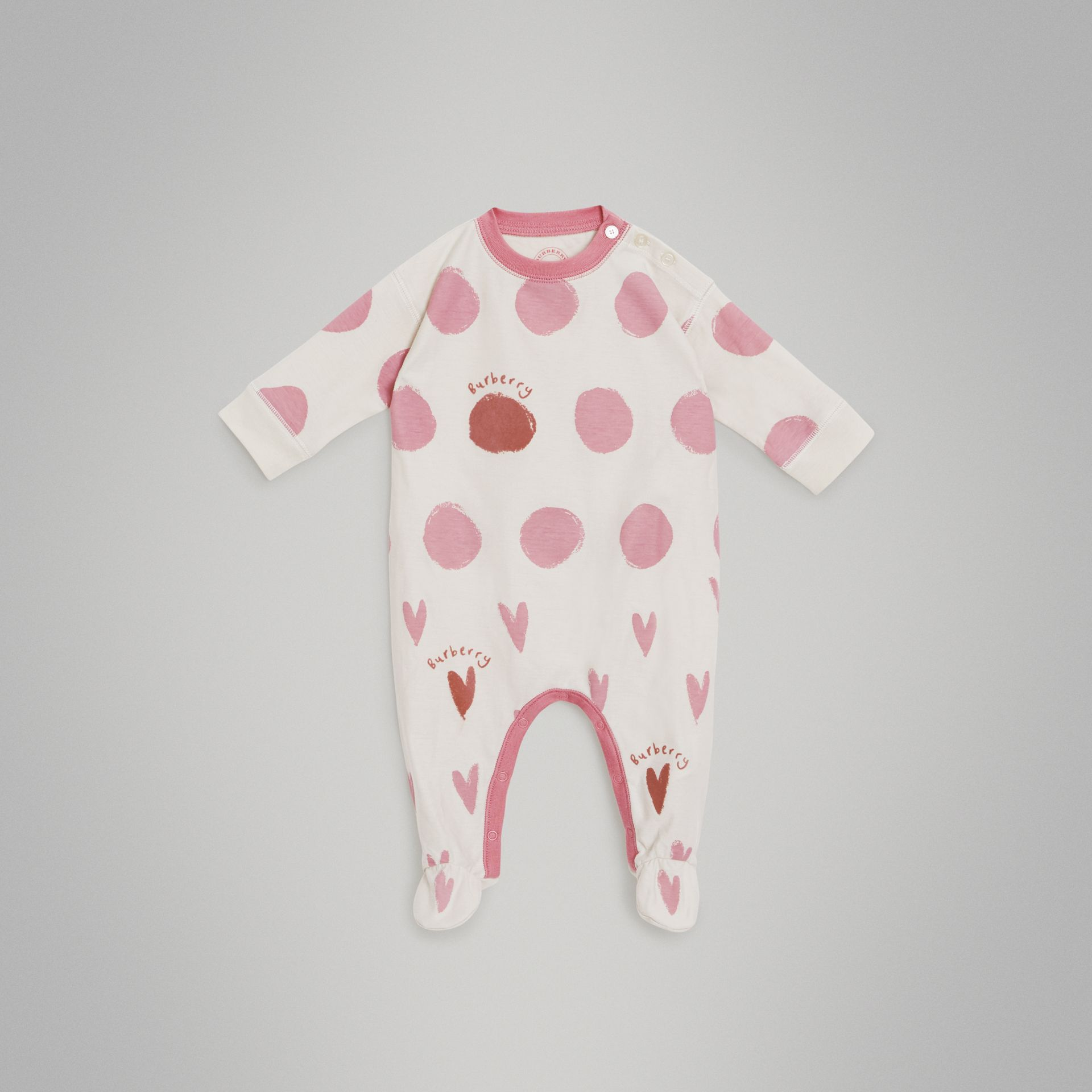 Spot and Heart Print Cotton Two-piece Baby Gift Set in Rose Pink - Children | Burberry - gallery image 2