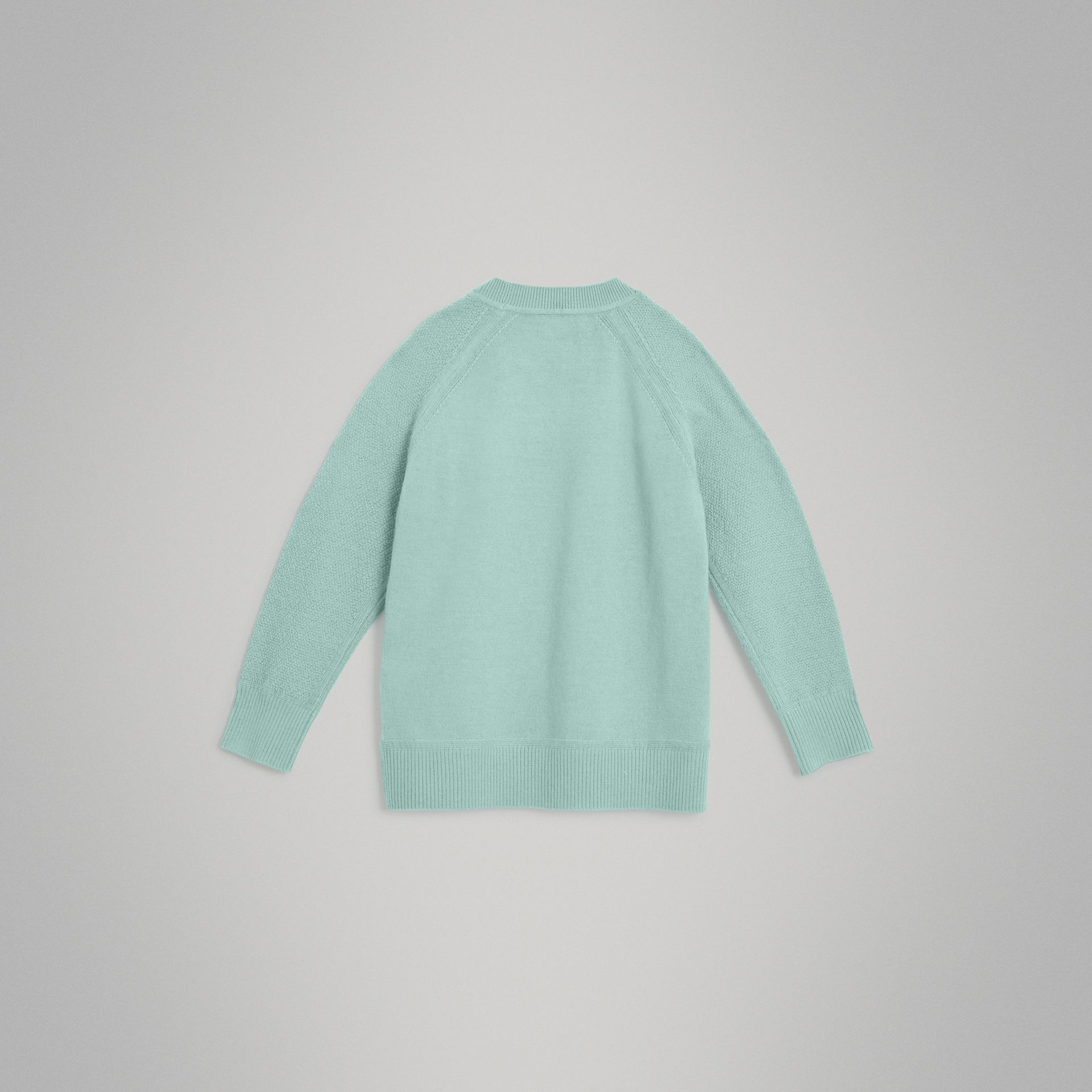 Crew Neck Cashmere Sweater in Dusty Mint Melange | Burberry Australia - gallery image 3