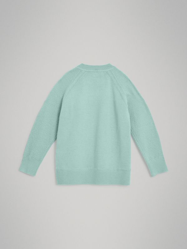 Crew Neck Cashmere Sweater in Dusty Mint Melange | Burberry - cell image 3
