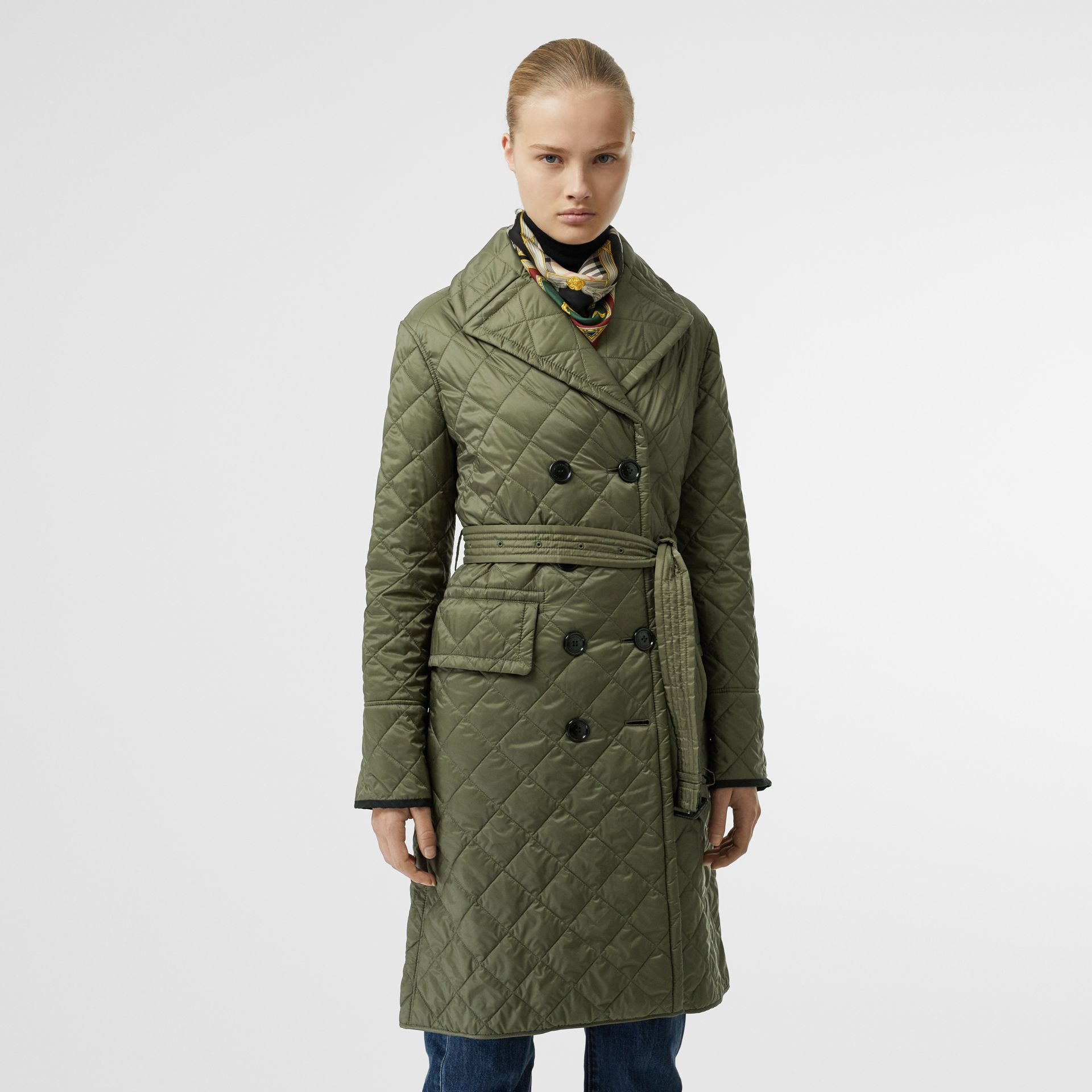Lightweight Diamond Quilted Coat in Cadet Green - Women | Burberry United Kingdom - gallery image 5