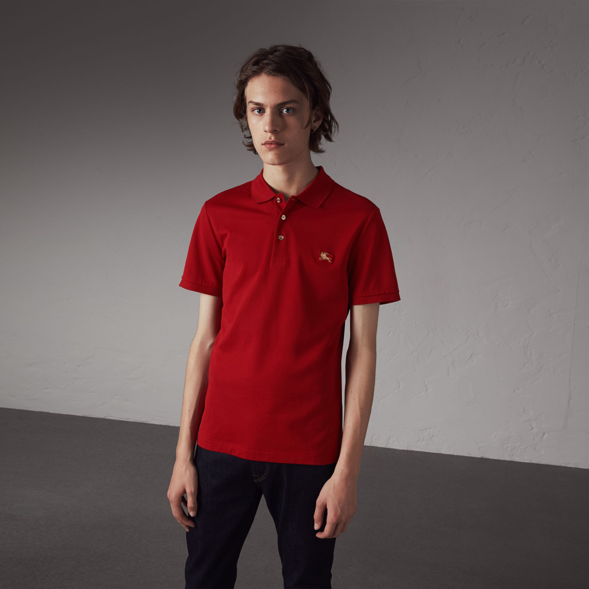 Cotton Piqué Polo Shirt in Military Red - Men | Burberry United Kingdom - gallery image 0