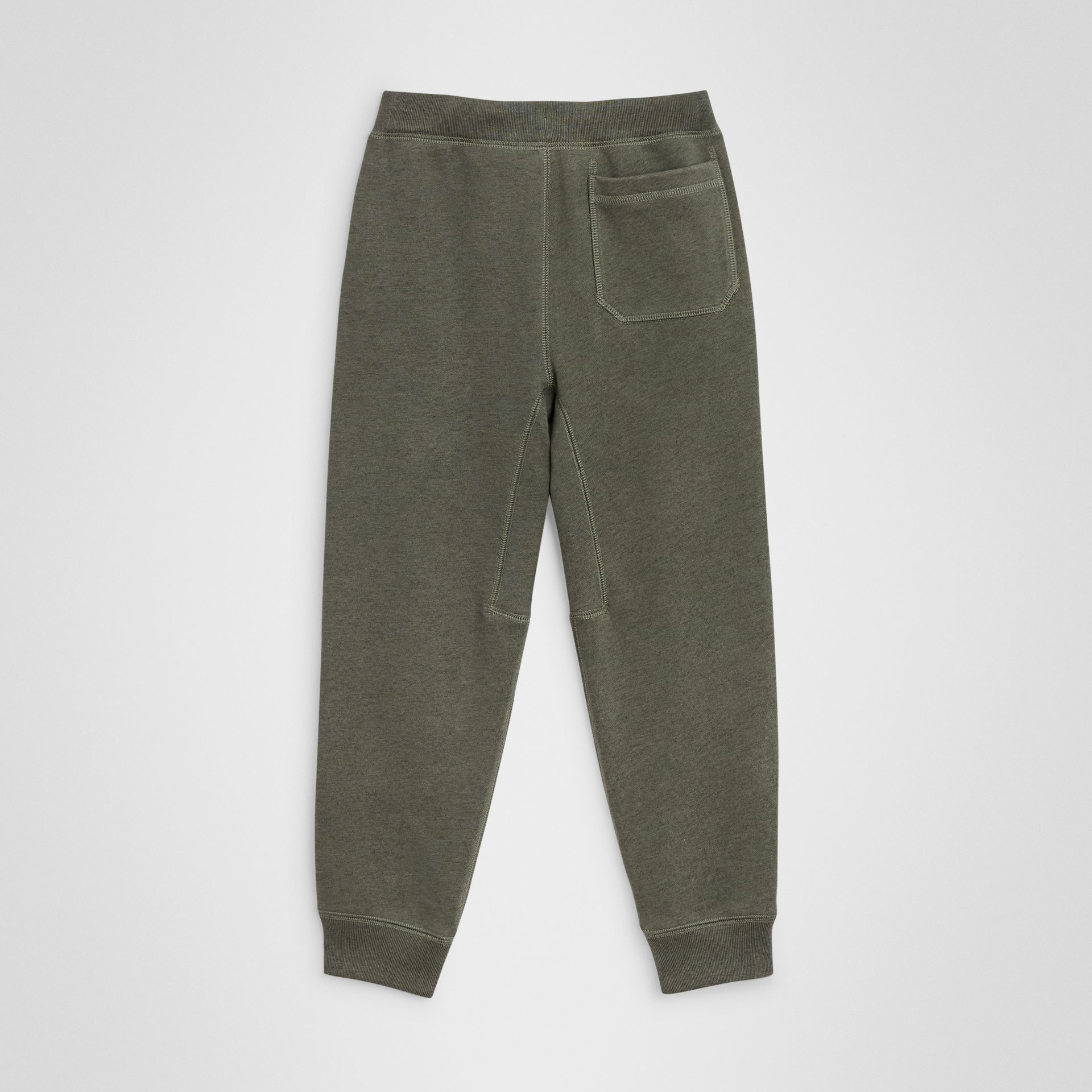 Cotton Jersey Trackpants in Olive Melange | Burberry Canada - gallery image 3